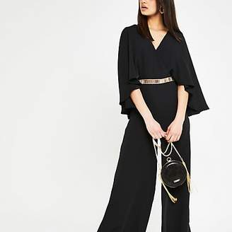 River Island Black cape sleeve wide leg jumpsuit