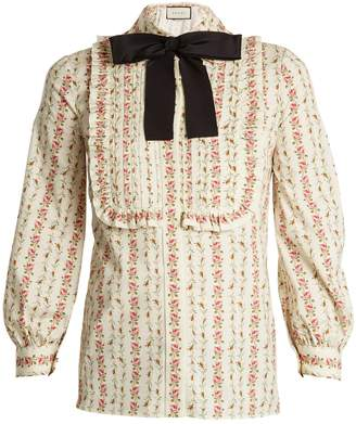 Gucci Rose-print cotton-blend blouse