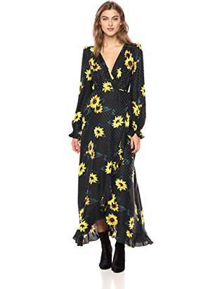 The Kooples Women's Women's Maxi Wrap Dress with Allover Sunflower Print