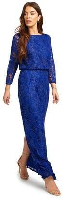 Ariella London - Royal Blue 'Ariah' Beaded Lace Batwing Maxi Column Dress