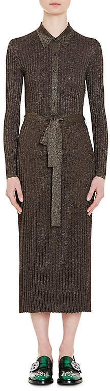 Prada Women's Metallic Rib-Knit Shirtdress