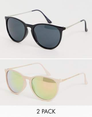 9f98c19d880 Asos Design DESIGN 2 pack round sunglasses in metal arms in pink and black