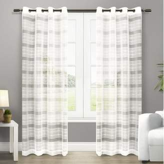 Amalgamated Textiles Exclusive Home Striped Sheer Grommet Curtain Panels