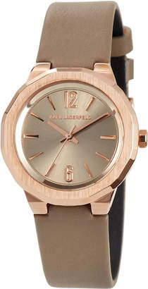 Karl Lagerfeld 34mm Joleigh Leather Watch, Rose Golden