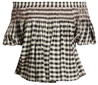 Anaak - Rebecca Off The Shoulder Cotton Blouse - Womens - White Black