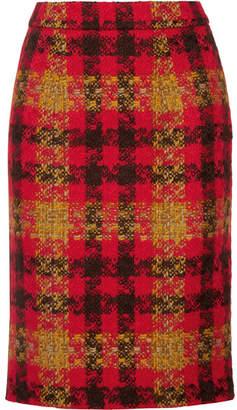 Miu Miu Checked Wool-tweed Skirt - Red