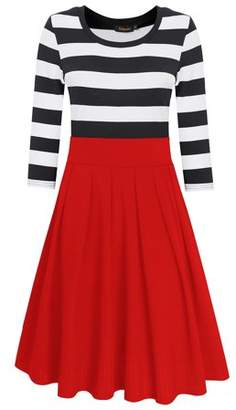Lintimes Women Casual Striped Scoop Neck 3/4 Sleeve Tunic Swing Dress Color:Navy Size:L