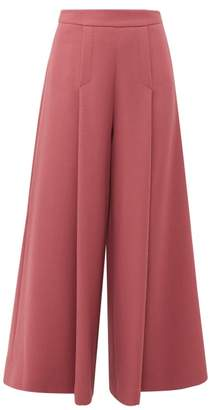 Emilia Wickstead Pacifica High Rise Wool Crepe Wide Leg Trousers - Womens - Dark Pink
