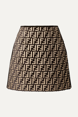 Fendi Flocked Woven Mini Skirt - Black