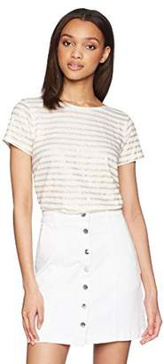 Majestic Filatures Women's Linen Stretch Striped Boat Neck Tee