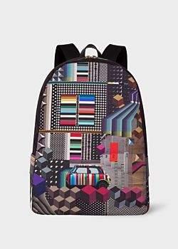 Paul Smith Men's 'Geometric Mini' Print Canvas Backpack