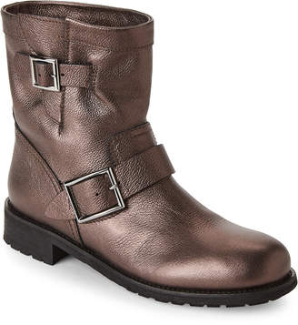 Jimmy Choo Bronze Youth Metallic Buckle Boots