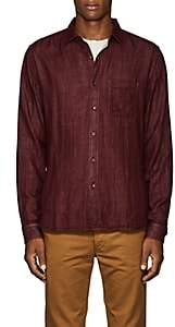 Barneys New York Men's Double-Faced Cotton Voile Shirt - Red