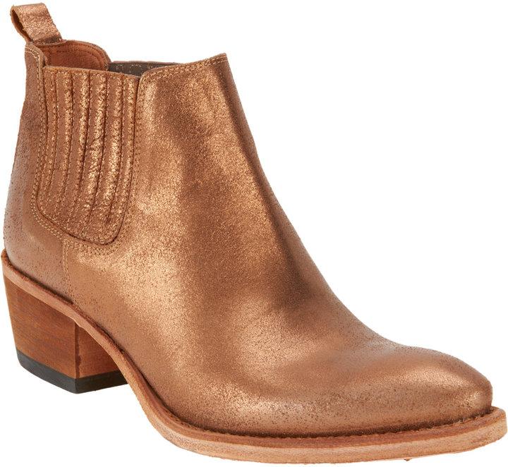 Barneys New York Metallic Side-Gore Ankle Boot