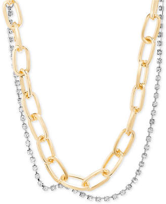 """Steve Madden Two-Tone Link & Crystal Layered Collar Necklace, 15"""" + 2"""" extender"""