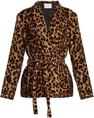 Calla leopard-print tie-waist velvet jacket