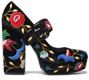 Alice + Olivia Houston Embroidered Velvet Platform Mary Jane Pumps