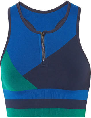 LNDR - Wild Cat Paneled Stretch-jersey Sports Bra - Midnight blue