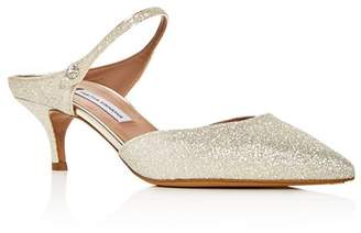 Tabitha Simmons Women's Liberty Glitter Pointed Toe Kitten Heel Mules