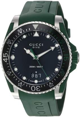 Gucci Quartz Stainless Steel and Rubber Casual Green Men's Watch(Model: YA136310)