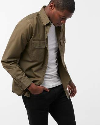 Express Slim Twill Military Shirt
