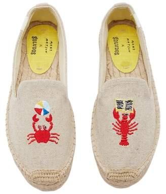 Soludos Mary Matson Lobster & Crab Platform Espadrille Flat