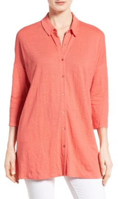 Women's Eileen Fisher Classic Collar Linen Jersey Tunic $168 thestylecure.com