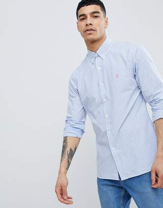 Polo Ralph Lauren Slim Fit Stripe Poplin Shirt Button Down Collar Polo Player In Blue
