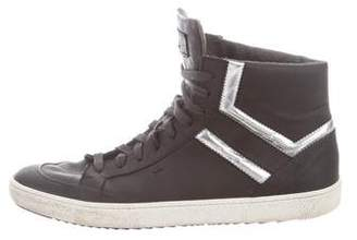Santoni Round-Toe High-Top Sneakers