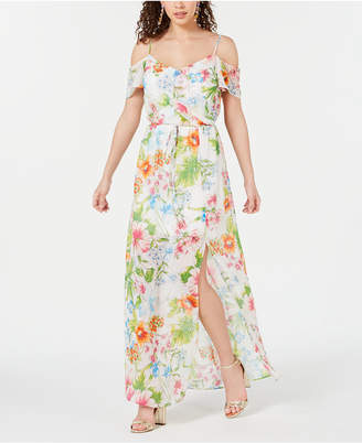 5793ffd6b1d8 City Studios Juniors' Floral Off-The-Shoulder Maxi Dress