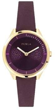 Furla Metropolis Purple Dial Calfskin Leather Watch