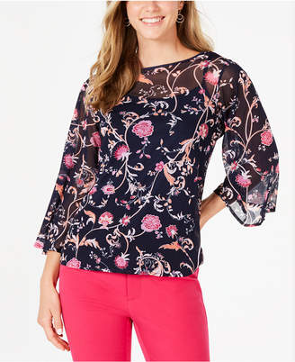 Charter Club Petite Bell-Sleeve Printed Top