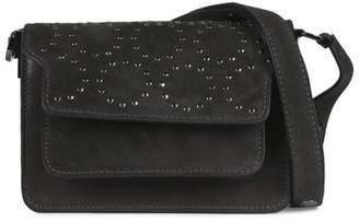 Lola Cruz Peroni Grey Suede Leather Studded Shoulder Bag
