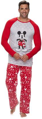 Disneyjammies For Your Families Disney's Mickey Mouse Big & Tall Mickey Top & Fairisle Microfleece Bottoms Pajamas Set by Jammies For Your Families