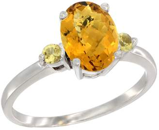 Gabriella Gold 10K White Gold Natural Whisky Quartz Ring Oval 9x7 mm Yellow Sapphire Accent, size 7.5