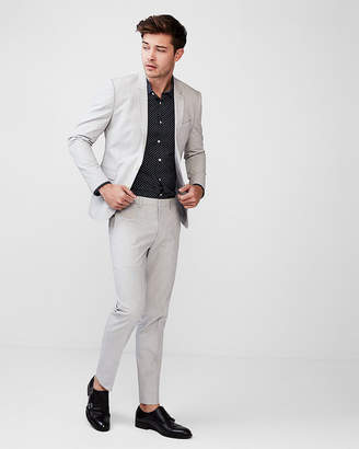 Express Extra Slim Gray Pindot Stretch Cotton Suit Pant