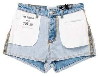 Au Jour Le Jour Mid-Rise Mini Denim Shorts