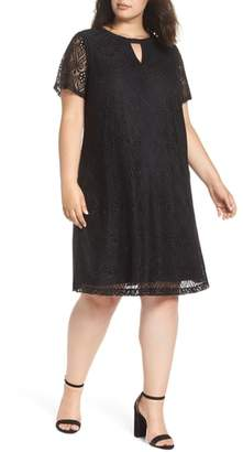 ECI Keyhole Neck Lace A-Line Dress