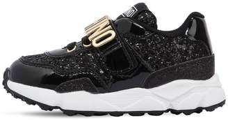 Moschino Glittered & Faux Patent Leather Sneakers