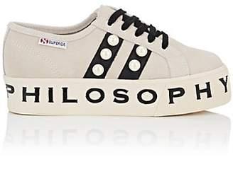 Philosophy di Lorenzo Serafini Women's Pearl-Embellished Suede & Leather Platform Sneakers - Beige, Tan