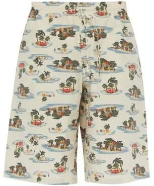 Bottega Veneta Hawaiian Print Cotton Poplin Shorts - Mens - Beige