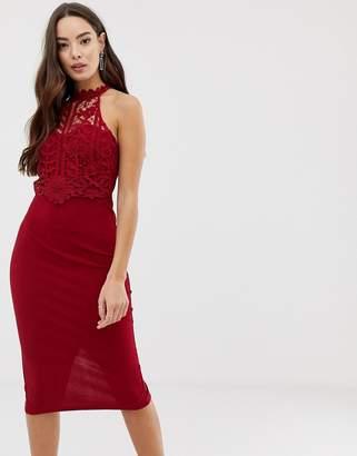 Girl In Mind high neck crochet lace midi dress