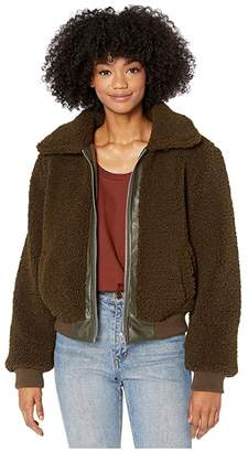 Blank NYC Sherpa Crop Jacket with Vegan Leather Center