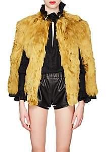 Women's Leather-Trimmed Alpaca-Fur Cape - Yellow