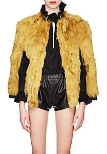 Saint Laurent Women's Leather-Trimmed Alpaca-Fur Cape - Yellow
