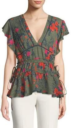Tanya Taylor Anita V-Neck Floral-Print Silk Top