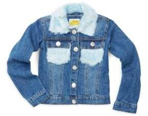 C&C California Little Girl's Faux Fur-Trimmed Denim Jacket