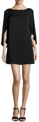Milly Butterfly-Sleeve Stretch-Silk Dress, Black