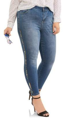A3 Denim Women's Plus Ankle Skinny with Gold Metallic Stripe