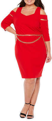 Bold Elements 3/4 Sleeve Cold Shoulder Bodycon Dress W / Belt - Plus